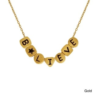 Enriching Word Cubed 'Believe' Sterling Silver Necklace