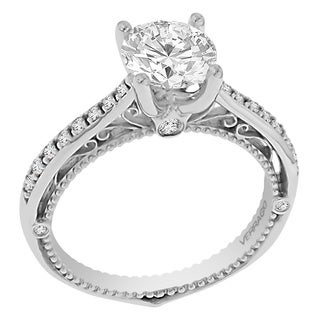 18k White Gold WG Verragio Cubic Zirconia and 1/5ct TDW Diamond Side Stone Ring (F-G, VS1-VS2)