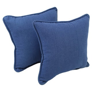 Blazing Needles 18-inch Corded Blue Denim Throw Pillows (Set of 2)