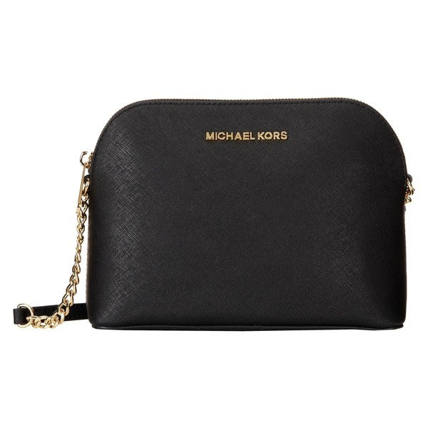 f817453898ff48 Shop Michael Michael Kors Cindy Black Saffiano Leather Goldtone Dome ...