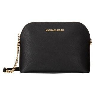 Michael Michael Kors Cindy Black Saffiano Leather Goldtone Dome Handbag