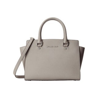 Michael Kors Selma Pearl Grey Medium Top Zip Satchel Handbag