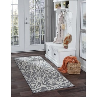 Alise Garden Town Transitional Floral Blue, Grey Runner Area Rug - 2'7 x 7'3
