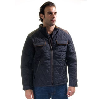 Men's Quilted Fur Lined Zip Up Jacket with Suede Piping