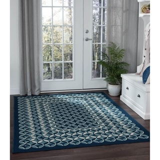 Alise Garden Town Contemporary Geometric Blue Area Rug (5'3 x 7'3)