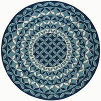 Alise Garden Town Contemporary Round Geometric Blue Area Rug - 7'10