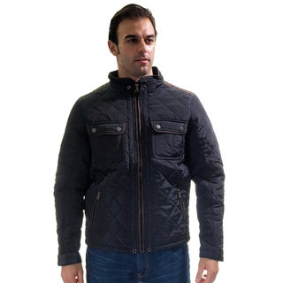 Men's Quilted Fur-lined Zip Up Suede Piping Jacket