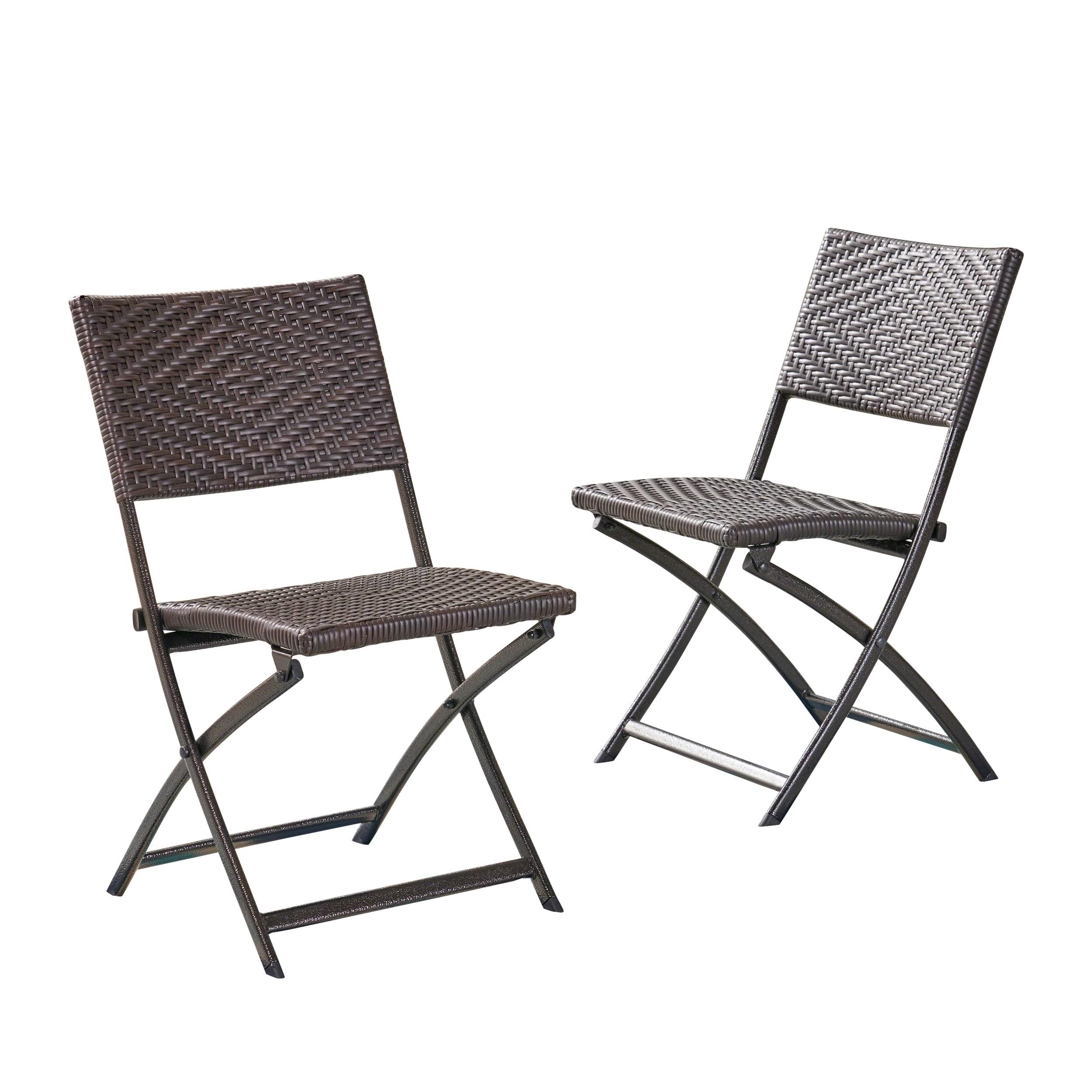 Fine Christopher Knight Home El Paso Outdoor Brown Wicker Folding Chair Set Of 2 Frankydiablos Diy Chair Ideas Frankydiabloscom