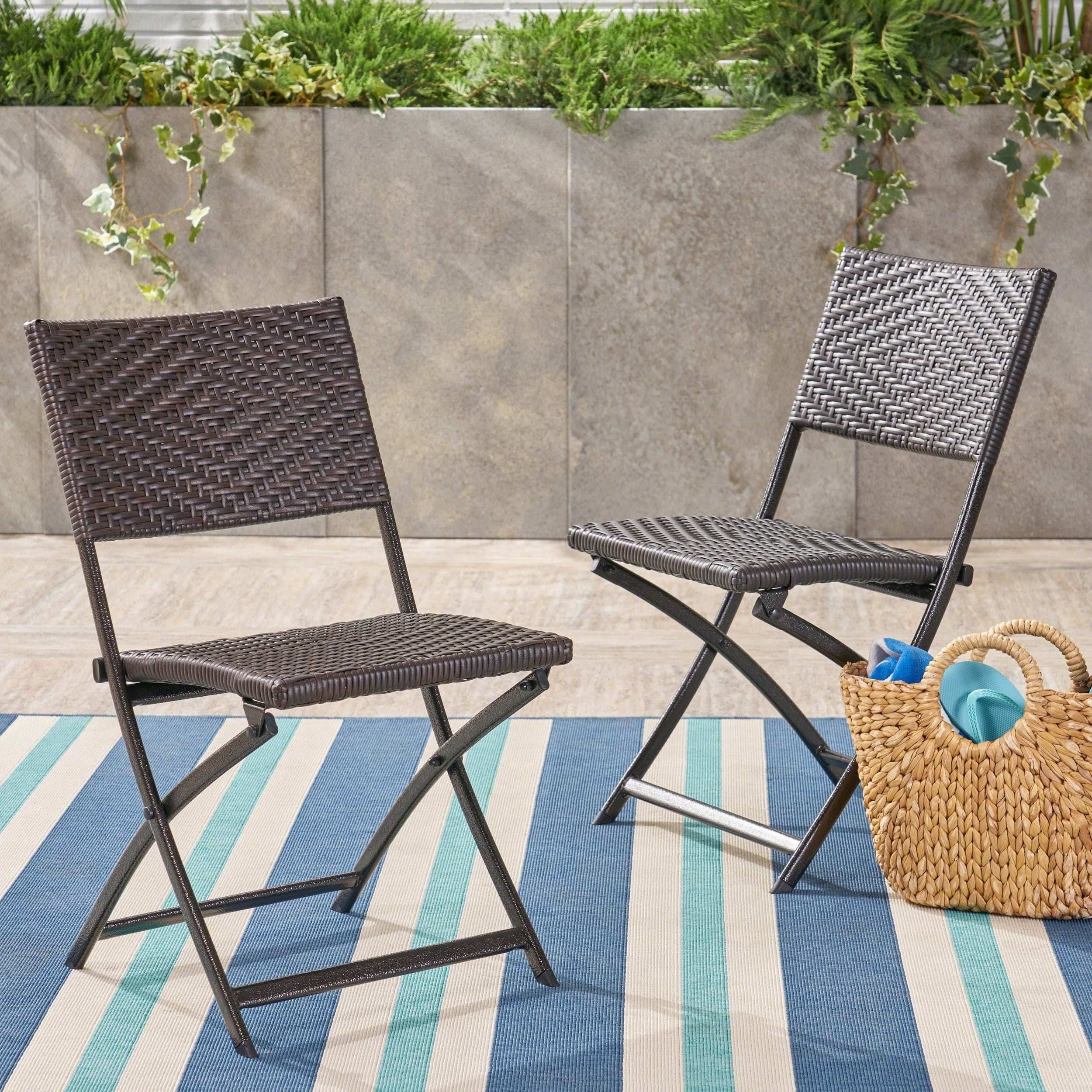 Christopher Knight Home El Paso Outdoor Brown Wicker Folding Chair Set Of 2