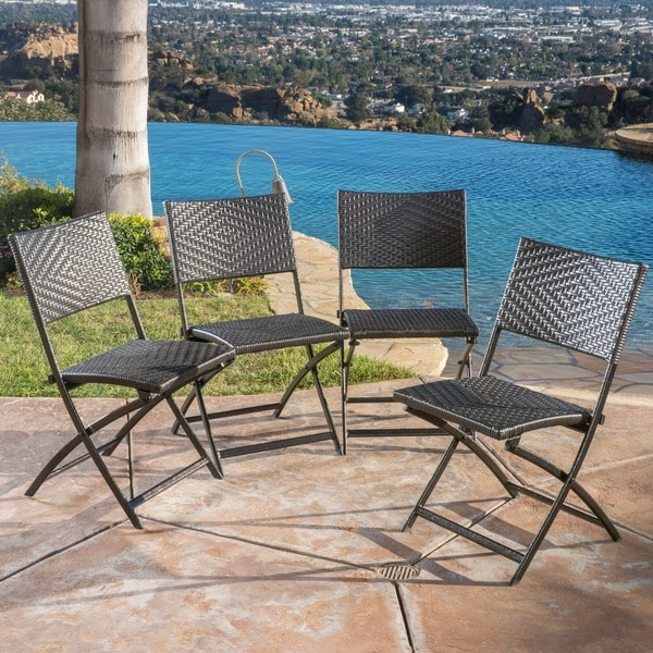 El Paso Outdoor Brown Wicker Folding Chair Set of 4 by Christopher Knight H