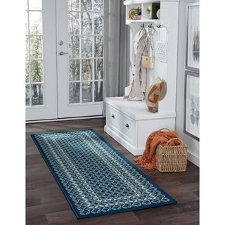 Alise Garden Town Contemporary Geometric Blue Runner Area Rug (2'7 x 7'3)