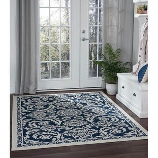 Alise Garden Town Transitional Floral Blue Area Rug (7'10 x 10'3)
