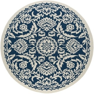 Alise Garden Town Transitional Round Floral Blue Area Rug (7'10' Round)