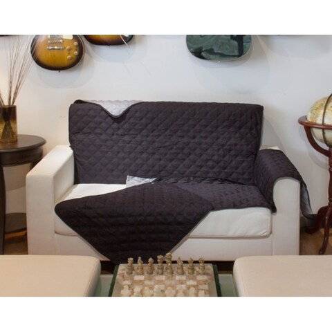 Button Design Reversible Loveseat Cover