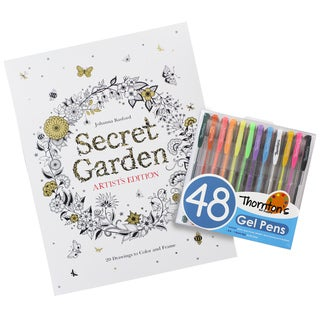 Secret Garden Artist's Edition Coloring Book with Choice of Thornton's Luxury Goods Art Pens/Pencils