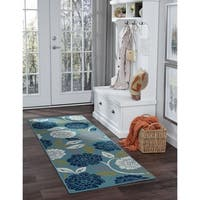 Alise Garden Town Transitional Floral Blue Runner Area Rug - 2'7 x 7'3