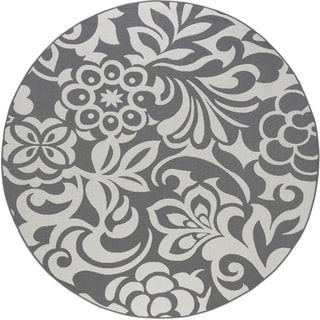Alise Garden Town Transitional Round Floral Blue, Grey Area Rug (7'10' Round)