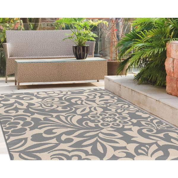 Alise Garden Town Transitional Floral Blue, Grey Area Rug (7'10 x 10'3) - 7'10 x 10'3