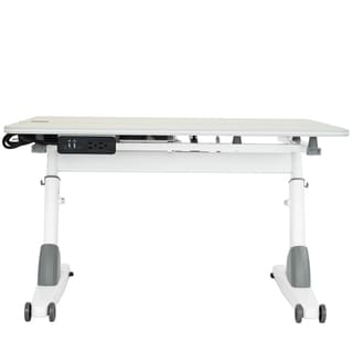 Kid's Ergonomic Sit to Stand Desk with USB Port in Maple/White