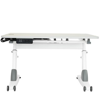 Kid 2 Youth Maple/ White Ergonomic Sit to Stand Desk with USB Port