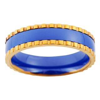 Mens Blue Ceramic and Stainless Steel Band