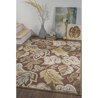 Alise Chenille Transitional Floral Brown Area Rug (5'2 x 7'3)