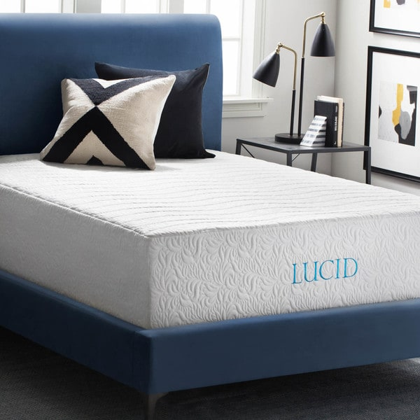 lucid 16 inch twin xl size gel memory foam and latex hybrid mattress free shipping today. Black Bedroom Furniture Sets. Home Design Ideas