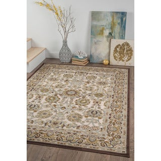 Alise Chenille Transitional Floral Beige Area Rug (5'2 x 7'3)