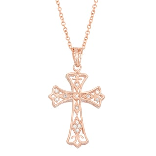 Gioelli 10k Rose Gold 1/6ct TDW Diamond Filigree Cross Necklace (H-I, I1-I2)