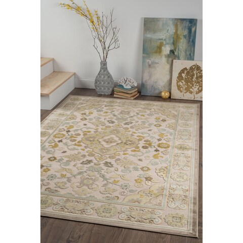Alise Chenille Traditional Floral Beige Area Rug - 7'8 x 10'3