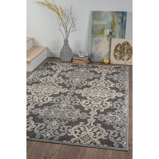 Alise Chenille Transitional Oriental Black Area Rug (7'8 x 10'3)