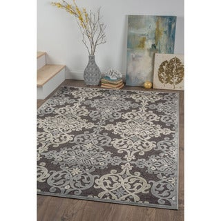 Alise Chenille Transitional Oriental Black Area Rug (5'2 x 7'3)