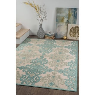 Alise Chenille Transitional Oriental Blue Area Rug (5'2 x 7'3)