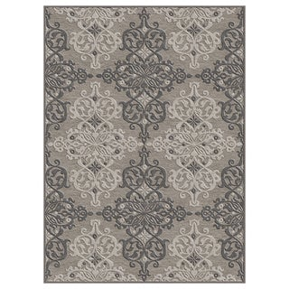 Alise Chenille Transitional Oriental Grey Area Rug (5'2 x 7'3)