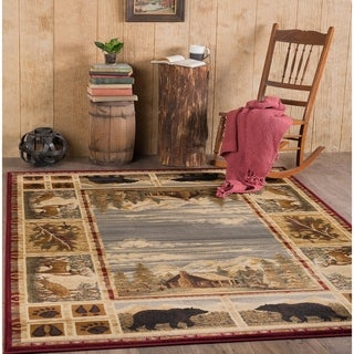 Alise Natural Lodge Animal Red Area Rug (5'3 x 7'3)