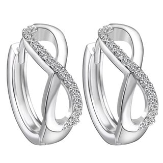 18k White Goldplated Brass Crystal Hoop Infinity Earrings