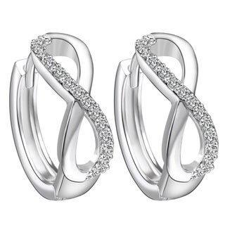 18k White Gold Overlay Crystal Hoop Infinity Earrings