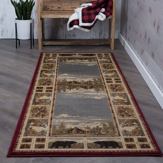 Alise Natural Lodge Animal Red Runner Area Rug (2'7 x 7'3)