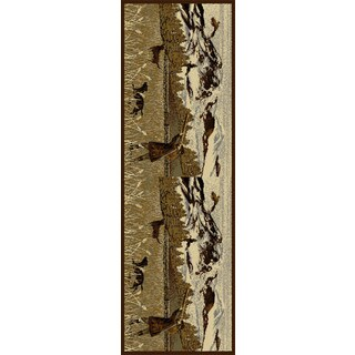 Alise Natural Lodge Animal Brown Runner Area Rug (2'7 x 7'3)