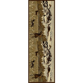 Alise Natural Lodge Animal Brown Runner Area Rug - 2'7 x 7'3