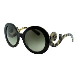 Prada Women PR 27NS ROK4M1 Top Black On White Havana Round Plastic Minimal-Baroque Edition Fashion Sunglasses