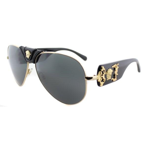 44d594d189069 Versace Womens VE 2150Q 100287 Gold And Black Fashion Aviator Sunglasses