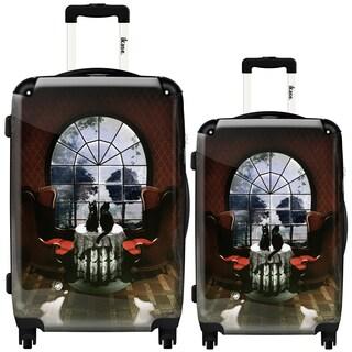 "iKase Ali Gulec ""Window Skull"" 2-piece Hardside Spinner Luggage Set"