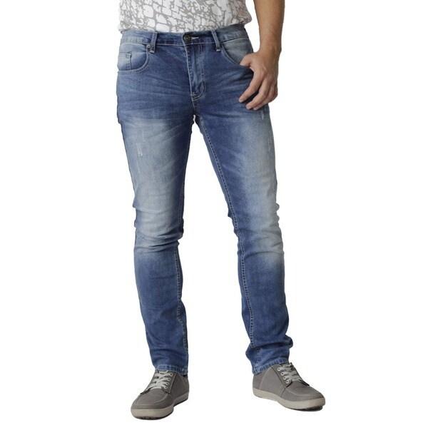 The United Freedom Men's Black PU Back Pocket Slim Fit Stretch Denim