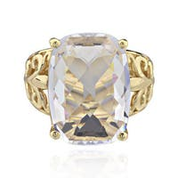Sterling Silver Goldplated Rectangle Crystal Ring (China)
