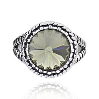 Sterling Silver Round Crystal Solitaire Ring (China)