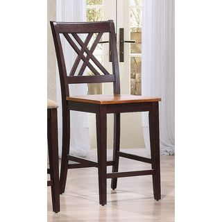 Iconic Furniture Double X- Back Whiskey Mocha 24 inch Counter Stool