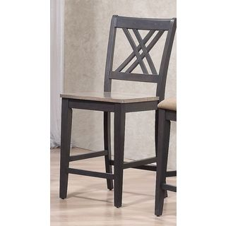 Iconic Furniture Double X- Back Grey Stone Black Stone 24 inch Counter Stool