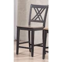 Iconic Furniture Double X-Back Antique Grey Stone Black Stone 24-inch Counter Stool