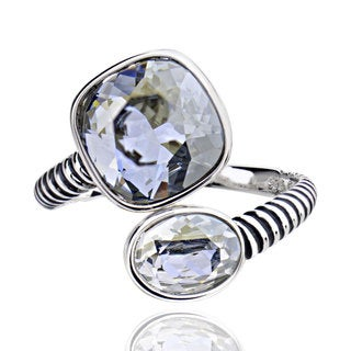 Sterling Silver Square Cushion Crystal Bypass Ring (China)